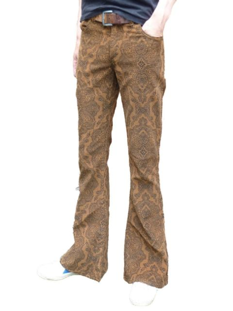 Paisley Cords Flares - Corduroy Bell Bottoms Pants Trousers - Tan Brown Paisley